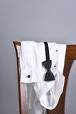 Tuxedo Shirt Bow Tie Chair Royalty Free Stock Image