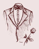 Tuxedo shirt and bowtie. Doodle style Royalty Free Stock Images