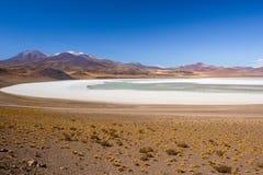 Tuyajto盐水湖和盐平在阿塔卡马沙漠,智利 库存图片