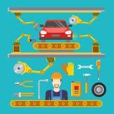 Tuyau de service de difficulté de réparation de voiture plate robot Co de convoyeur illustration de vecteur