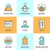 Tuyau de service de logement d'hôtel icônes réglées illustration stock