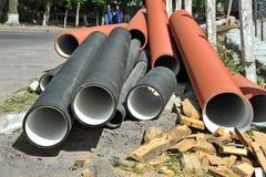 Tuyau empilé de PVC image stock