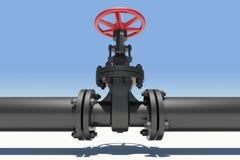 Tuyau et valve noirs Ciel comme contexte Image libre de droits