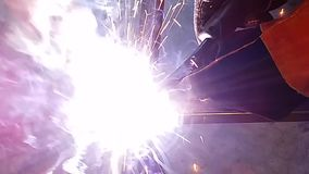 Tuyauterie d'acier de place de soudure de MIG banque de vidéos