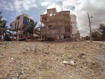 Tuyaux détruits par le tremblement de terre massif, Amérique du Sud Images stock