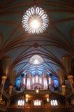 Tuyaux d'organe dans la cathédrale de Notre Dame à Montréal image stock