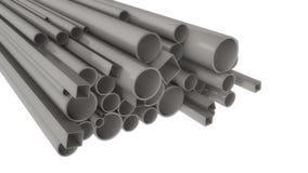 Tuyaux en métal de différentes formes et tailles Image stock