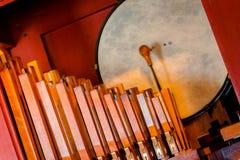 Tuyaux et tambour dans une machine d'organe de tuyau en Holland Michigan photo stock