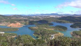 Tuyen Lam lake on mounttain view, Da Lat city, Lam Dong province, Vietnam. Panorama Tuyen Lam lake and Da Lat city view from Pinhat mounttain, Lam Dong province stock video