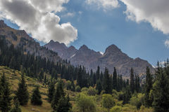 Tuyksu kloof dichtbij Shymbulak-skitoevlucht Tien Shan-bergen bij Stock Foto