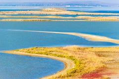 Tuzla spit top view coast of Crimea Russia's Taman Peninsula Royalty Free Stock Image
