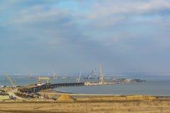 TUZLA, TAMAN PENINSULA, RUSSIA - JANUARY 04.2017: construction of a bridge across the Kerch Strait from the Taman. Stock Images