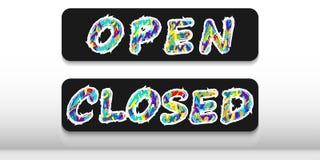 Två plattor med orden 'som är öppna 'och 'som är stängda 'på en svart bakgrund stock illustrationer