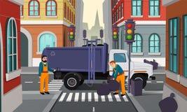 Tvärgata för vektortecknad filmstad med avskrädelastbilen royaltyfri illustrationer