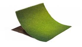 Tvärsnitt av jordning med delen av gräsmatta Arkivfoton