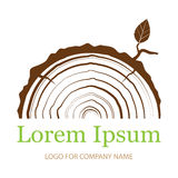 Tvärsnitt av stammen med trädcirklar Wood teckensymbol Trädtillväxtcirklar också vektor för coreldrawillustration logo stock illustrationer