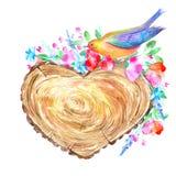 Tvärsnittträdet av en hjärta formade, fågeln och den blom- kransen Royaltyfria Bilder