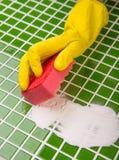 Tvätt av tegelplattorna i badrummet Arkivfoton