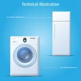 tvätt för kökmaskinkylskåp stock illustrationer