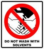 Tvätta inte händer med vätsketecknet också vektor för coreldrawillustration varning för banermallvektor Rött förbudsymbol förbjud Arkivfoton