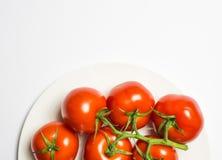 Tvättad mogen tomatgrupp på plattan på vit bakgrund, horisont royaltyfri fotografi