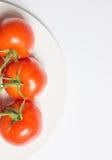 Tvättad mogen tomatgrupp på plattan på vit bakgrund, vertica royaltyfri fotografi