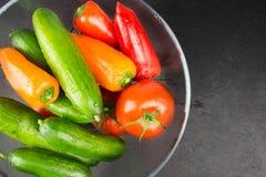 Tvättade organiska grönsaker i bunke på den mörka stenplattan, bästa sikt royaltyfri foto