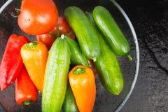 Tvättade organiska grönsaker i bunke på den våta mörka stenen pläterar, bästa v fotografering för bildbyråer
