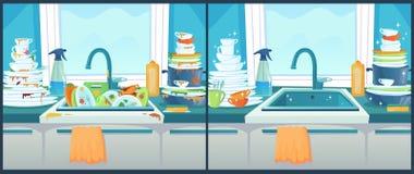 Tvättande disk i vask Smutsig maträtt i kök, rena plattor och smutsig illustration för bordsservistecknad filmvektor royaltyfri illustrationer