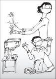 Tvättande händer för moder och för Son Arkivfoton