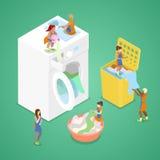 Tvättande kläder för miniatyrfolk Tvätteriservice Isometrisk plan illustration stock illustrationer