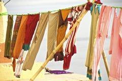 Tvättande linje i Varanasi Royaltyfria Bilder
