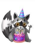 Tvättbjörn med en födelsedagkaka lycklig födelsedagberöm Vektor Illustrationer