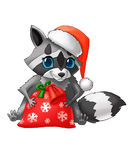 Tvättbjörn med en jultomtenhatt royaltyfri illustrationer