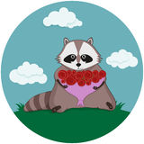 Tvättbjörn och härlig bukett av rosor Stock Illustrationer