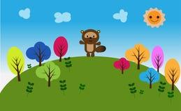 Tvättbjörn och träd på moutainen Arkivfoton