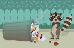 Tvättbjörn och Trashcan stock illustrationer