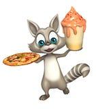 Tvättbjörntecknad filmtecken med glass och pizza stock illustrationer