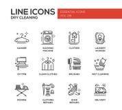 Tvätteri - linje designsymbolsuppsättning vektor illustrationer
