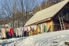 Tvätteri på klädstreck Royaltyfria Bilder
