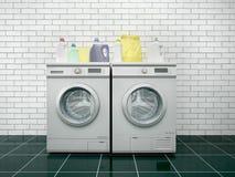 Tvätteri Tvagningmaskin och tork royaltyfri illustrationer