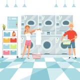 Tvätteribakgrund Kvinnatvagningkläder i tvätterit royaltyfri illustrationer