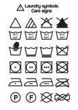 Tvätterisymboler, omsorgtecken Stock Illustrationer