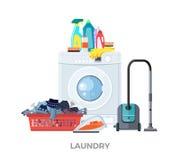 Tvätteritvagningmaskin, vakuum och tvättmedel stock illustrationer