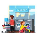Tvättinrättning för själv för man och för kvinna offentligt tjänste- vektor illustrationer