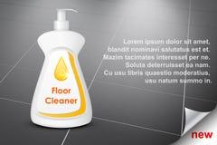 Tvättmedel för kök och badrummet, flaskdesign på abstrakt begrepp belagd med tegel golvbakgrund Arkivfoto