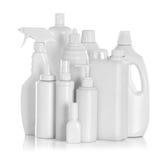 Tvättmedelflaskor och kemiska lokalvårdtillförsel Arkivbild