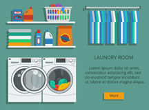 Tvättstuga Vektor Illustrationer