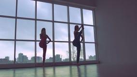 Två älskvärda kvinnor som öva yoga, poserar tillsammans i den vita studion med naturligt ljus stock video