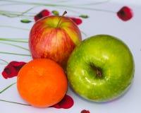 Två äpplen och en liten mandarin, som är delen av en veckospeceriaffär, ger en nödvändig beståndsdel av 5na om dagen som äter M Royaltyfria Foton